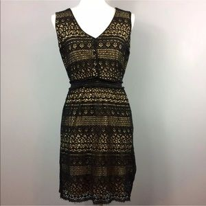 Max Studio Black Crochet Beige Dress Small